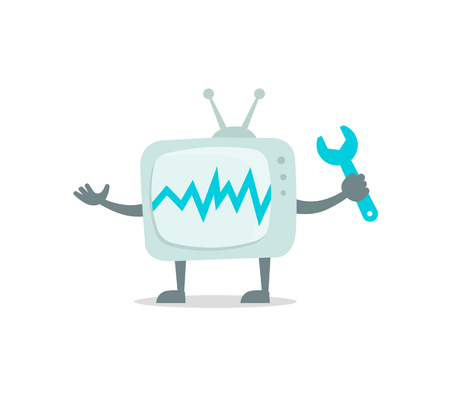 Television character with legs and arms holding a tool. Illustration