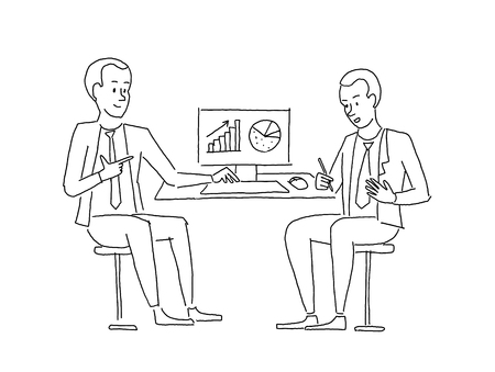 Sketch people at the table. Two businessman discussing business at work table looking at diagrams.  イラスト・ベクター素材
