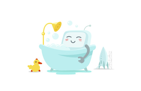 Emoji sticker robot is taking bathin in the bathroom. Very cute picture rest, exfoliation foam shampoo. Break for rest. Flat color vector illustration stock clipart Illustration