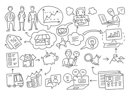 사례의 스케치 다이어그램. 사업 계획 발표 자유형 그리기. 인터넷 발전 촉진에 대한 마케팅 및 마케팅 계획. 손으로 그린 검은 선 벡터 재고 클립 아트 일러스트