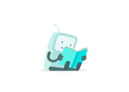 The robot sits reading book. Instructions user guide. Error page not found. Flat color vector illustration Illusztráció