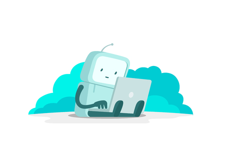 The robot astronaut man sits with laptop. Search on the Internet. Internet surfing. Error page not found. Flat color vector illustration