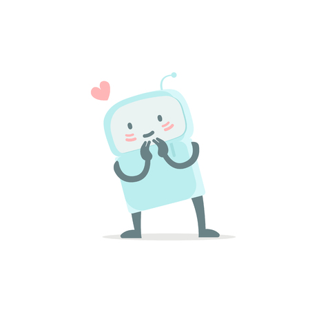 Robot toy love you and shy. Cute small new emoji sticker Icon. Very cute for child kid picture with heart. You are beautiful. You are beautiful. Flat color vector illustration stock clipart Illustration