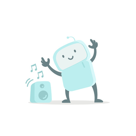 Robot toy listens to music and dances. Cute small new emoji sticker Icon. Very cute for child kid audio speakers. You are beautiful. Flat color vector illustration stock clipart