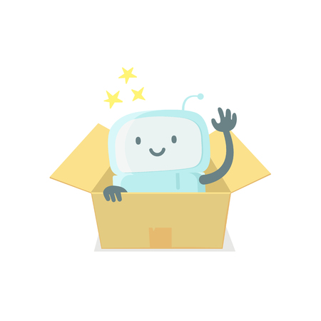 Robot toy in the box. Cute small new emoji sticker Icon. Very cute for child kid surprise box. You are beautiful emotions. Flat color vector illustration Illustration