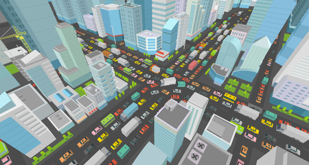 City street Intersection traffic jams road 3d. Very high detail Isometric projection view. A lot cars end buildings top view Vector illustration Illustration