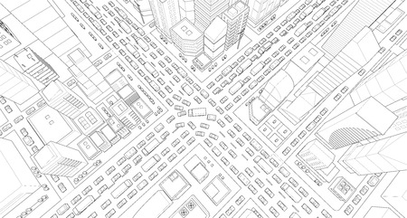 City street Intersection traffic jams road 3d. Black lines outline contour style Very high detail projection view. A lot cars end buildings top view Vector illustration