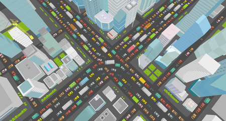 City street Intersection traffic jams road 3d. Very high detail projection view. A lot cars end buildings top view Vector illustration