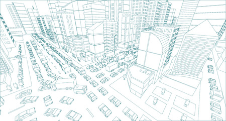 City street Intersection traffic jams road 3d drawing. Blue lines outline contour style Very high detail projection view. A lot cars end buildings top view Vector illustration Illustration