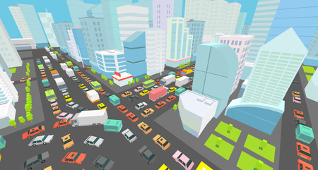 City street Intersection traffic jams road 3d. Black lines outline contour style Very high detail view. A lot cars end buildings top view Vector illustration Vettoriali