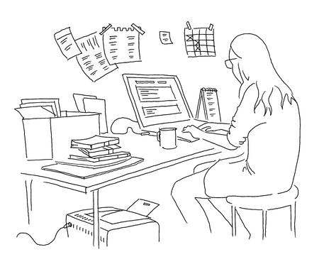 The girl is working at the table. Outline by hand drawn. Black and white lines. Working with a laptop. Vector illustration clipart Archivio Fotografico - 110252524