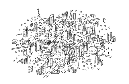 Town sketch In the circle. Hand drawn black line. Print Flat vector illustration clipart. Vector Illustratie