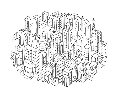 Town sketch In the circle. Hand drawn black line. Print Flat vector illustration clipart. Иллюстрация