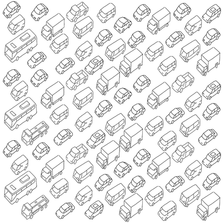 Sketch traffic jam car plug transport highway. Hand drawn black line texture background vector stock clipart illustration.