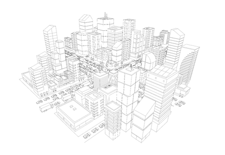 Skyscrapers business center buildings top view. Outline contour style. Very high detail projection. Vector illustration stock clipart. Vector Illustration