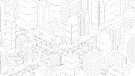 Dessin 3d de route d'embouteillage d'intersection de rue de ville. Les lignes noires décrivent le style de contour. Vue de projection très détaillée. Beaucoup de voitures finissent la vue de dessus des bâtiments. Clipart d'illustration vectorielle. Vecteurs