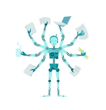 El robot multilínea. Gerente cyborg multifuncional de oficina. Ilustración de vector