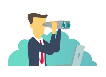 Hombre persona mirando hacia adelante a través de binoculares. Ilustración vectorial