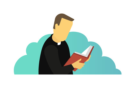 Sacerdote sacerdote che legge la preghiera del libro della Bibbia della Sacra Scrittura. Illustrazione vettoriale. Sfondo blu. Seminario teologico studentesco. Illustrazione piana di vettore.