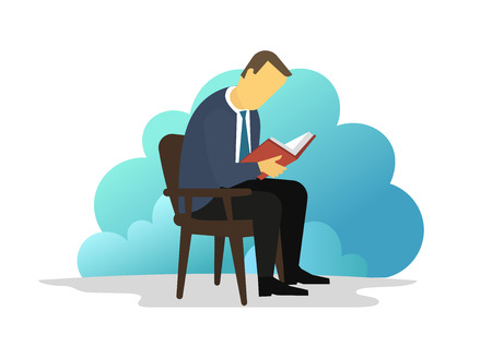 Man reading book sitting on chair. eBook reader. Electronic book Library information. Vector illustration. Blue background. Student and college education tuition. Vector flat illustration. Иллюстрация