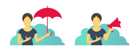 Business woman office set of situations. With umbrella protection and with loudspeaker. Female advertising and laptop. Vector flat illustration.