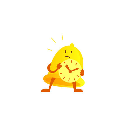 Bell alarm character mascot with a clock in his hands expectation. Call clock signal golden yellow. Vector illustration clipart.