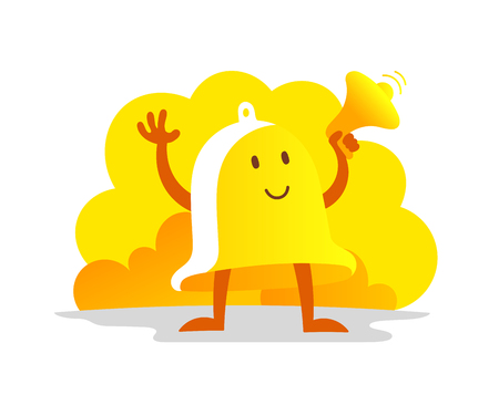 Bell alarm character. Call clock signal golden yellow with a megaphone loudspeaker. Vector illustration clipart.