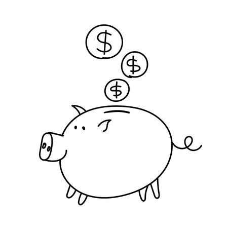 Piggy bank dollars coins sketch. Bribe Pig with a document in the mouth. Vector illustration clipart. Иллюстрация