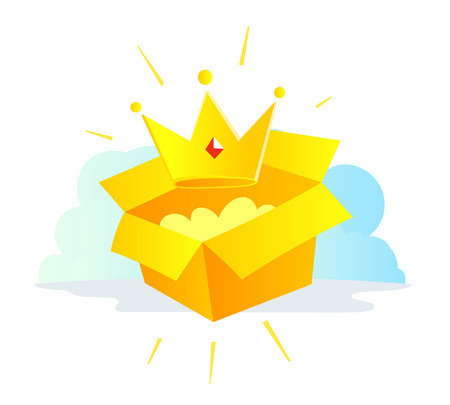 Gold Crown icon by mail in the package. The premium account. Delivery service box. Vector illustration clipart.