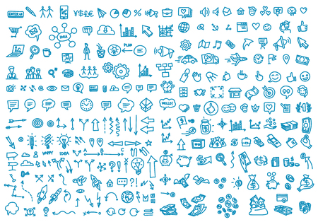 Hand draw business activity set doodle. Business ideas presentation. Background. Vector handwritten outline illustration clipart line blue color Иллюстрация