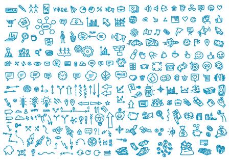 Hand draw business activity set doodle. Business ideas presentation. Background. Vector handwritten outline illustration clipart line blue color Illustration