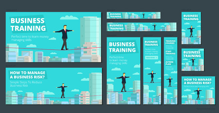 Workshop training activity. How to Manage Business risk. businessman walking tightrope funambulist rope-dancer economic risk balance-master. Background panorama city. Set of banners all standard sizes.