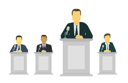 Businessman or politician making speech behind the pulpit before a microphone rostrum. Assembly, summit policy of government, nation, president. The global situation meeting. Vector flat style colorful illustration.