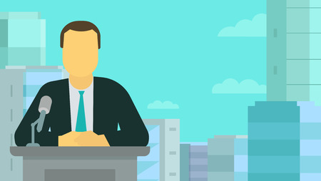 News release. TV presenter. Man making speech. Microphone on the rostrum. Background blue panorama city. Policy of government news. Vector flat style colorful illustration. Vektoros illusztráció