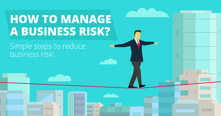 How to Manage Business risk. businessman walking tightrope funambulist red thread rope-dancer economic risk balance-master. Background panorama city.