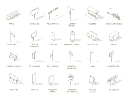 Outdoor out-of-home advertising media icons set. Isometric contour line one color icons. Billboard signboards, roll-up, banners street furniture and transport transit ads. Vector illustration stock clipart.