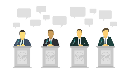 Political discussion. Dialogue of politicians on the stage. Speech rostrum microphone. Policy of government. Vector flat style colorful illustration on white background.