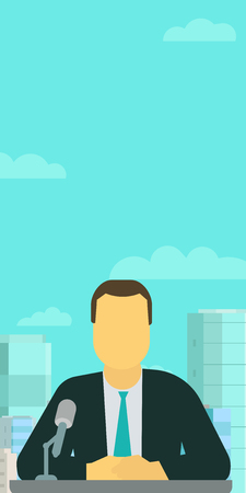 Vertical banner. Broadcaster anchorman. TV presenter making speech in microphone. Against the sky and city. Vector flat style colorful illustration. Illustration