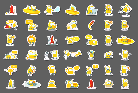 Sticker robots big set character. Yellow color version. Search, ufo and others. Collection illustration. Ilustração