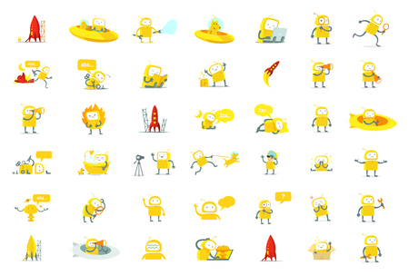 Robots big set character. Yellow color version. Search, ufo and others. Collection illustration.