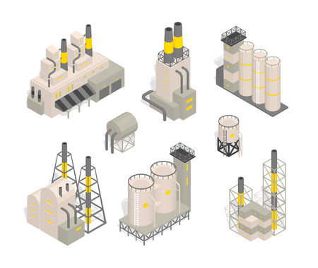 Set industrial factories plant building Isometry vector illustration. Industrial production factory. Facility manufacturing. Vector flat style colorful illustration.