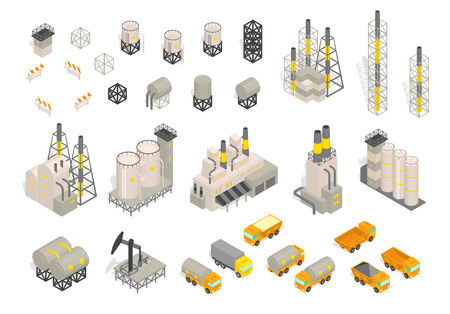 Set industrial factories plant building and trailer delivery. Isometric vector illustration. Industrial production factory. Facility manufacturing. Vector isometric style colorful illustration Vektorové ilustrace