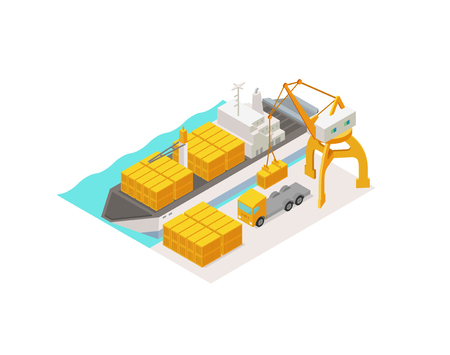 Isometric cargo port terminal ships logistics and transportation. Container with working crane import export transport in shipping yard. 3d in harbor Isometric view. Vector colorful Illustration.