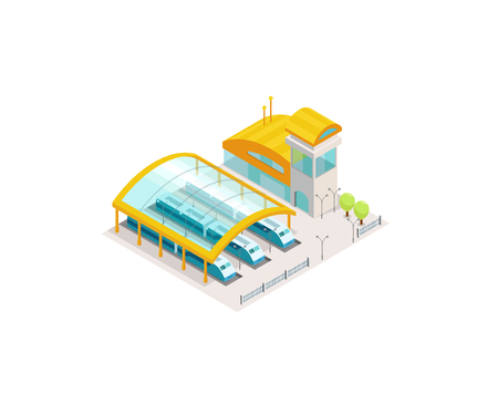 Train station railway public. Building with trains platform. Vector isometric infographic element 3d view. Colorful Illustration. Illustration