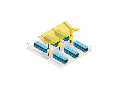 Vector isometric bus station terminal icon or infographic element. Blue buses at the yellow coach station. Bus ticket. Web site 3D vector illustration