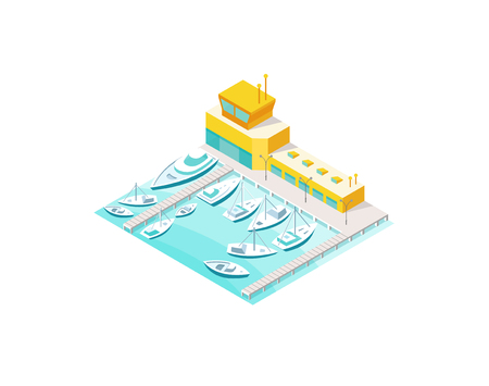 Pleasure boats on the quay. Harbor sea waterfront. Vector isometric icon or infographic element 3d view colorful Illustration. Stock Vector - 126158384