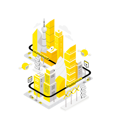 Smart city data center isometric building. Hosting server technology automation with networking. IoT future technology. traffic and internet of things vector concept. High detailed illustration. Yellow, black and gray.