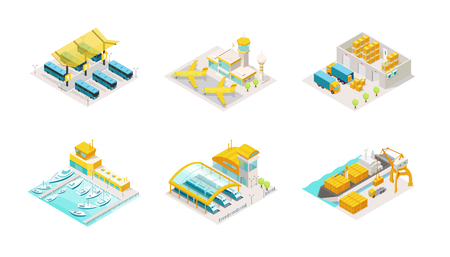 Set of logistic transport isometric. Bus station, airplane airport, delivery service warehouse and truck. Shipping by sea boat and containers on a barge, train station. Vector isometric low poly colorful illustration