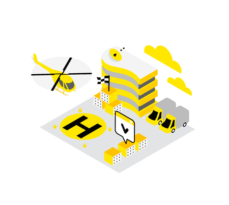 Smart city. Helicopter helipad data infrastructure isometric concept technology. Internet cloud storage heliport. Hosting server networking. IoT future technology. High detailed vector illustration. Yellow, black and gray.