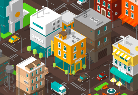 Town district street. Isometric road Intersection. High detail city projection view. Cars end buildings top view. Shop, office and cafe. Vector illustration stock clipart.